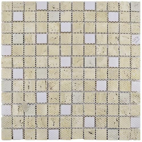 Cathedral Glouster Beige 12 in. x 12 in. x 8 mm Glass and Stone Mosaic Tile