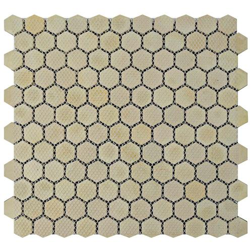 Meta Hex 11-1/4 in. x 11-1/4 in. x 8 mm Stainless Steel Over Ceramic Mosaic Tile