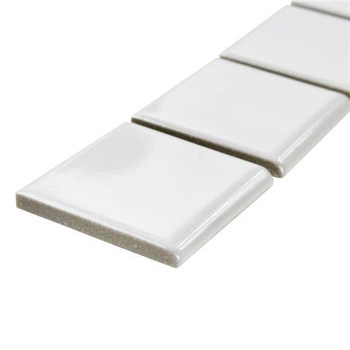 Metro Glossy White 1-7/8 in. x 11-7/8 in. x 6 mm Porcelain Bullnose Mosaic Trim Tile