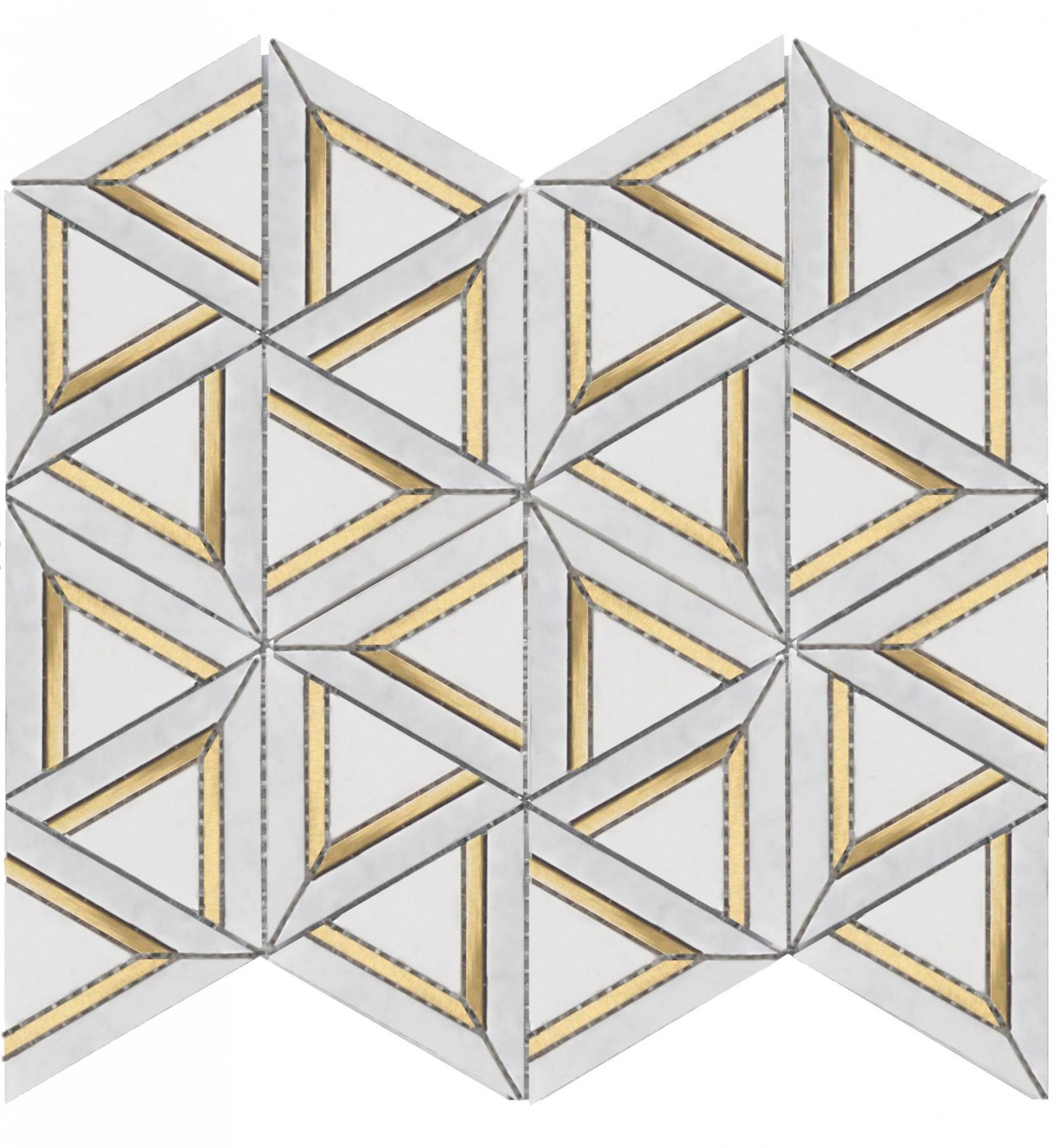 CARRARA WHITE METAL GEO 12x14 MOSAIC